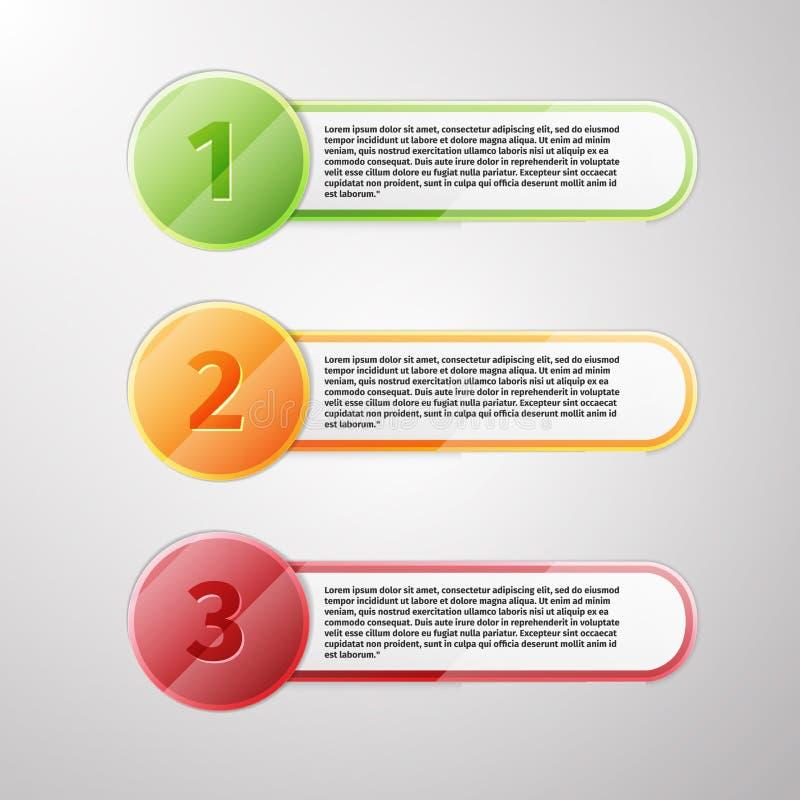 Icônes de progrès pour trois étapes illustration libre de droits