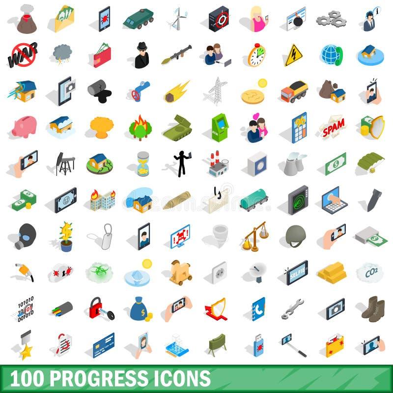 100 icônes de progrès réglées, style 3d isométrique illustration de vecteur