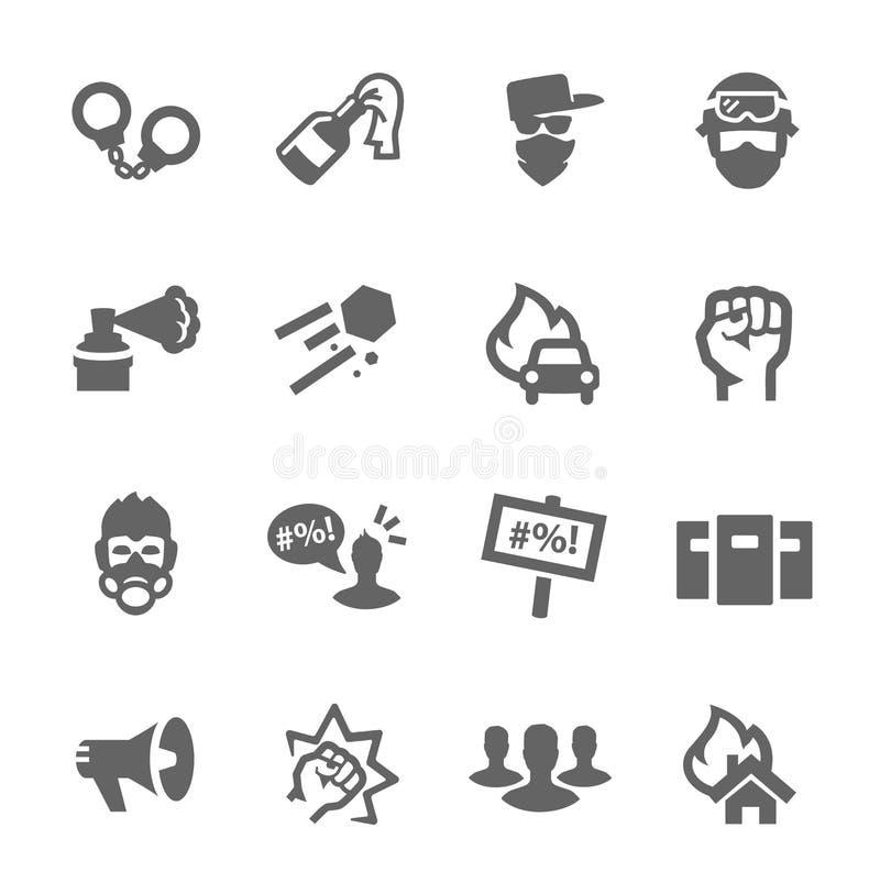 Icônes de protestataires illustration stock