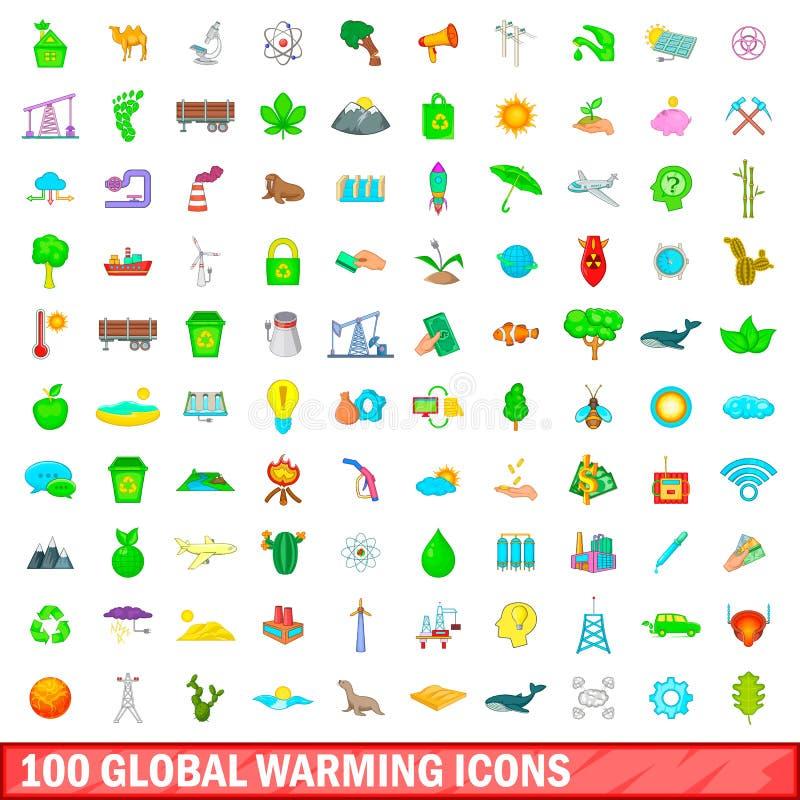 100 icônes de réchauffement global réglées, style de bande dessinée illustration libre de droits