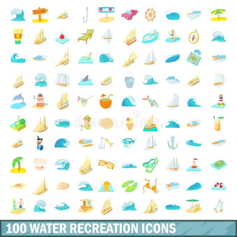 100 icônes de récréation de l'eau réglées, style de bande dessinée illustration libre de droits
