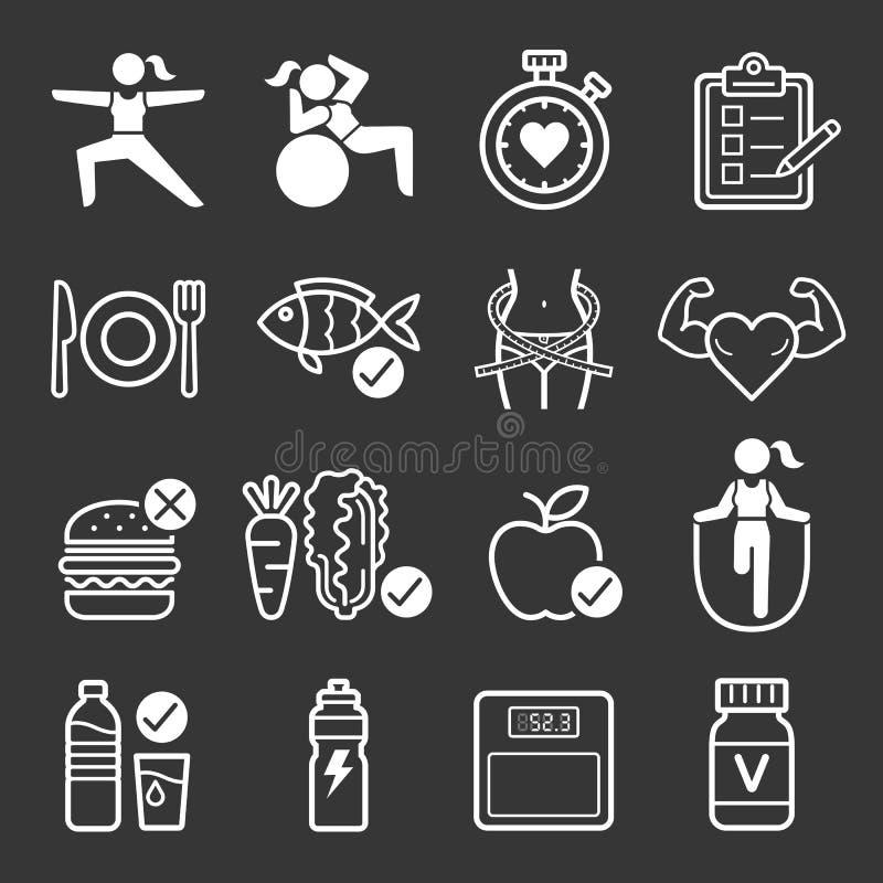 Icônes de régime et d'exercice illustration libre de droits