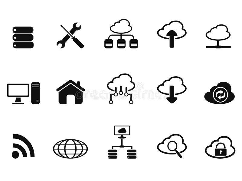 Icônes de réseau de nuage noir réglées illustration libre de droits