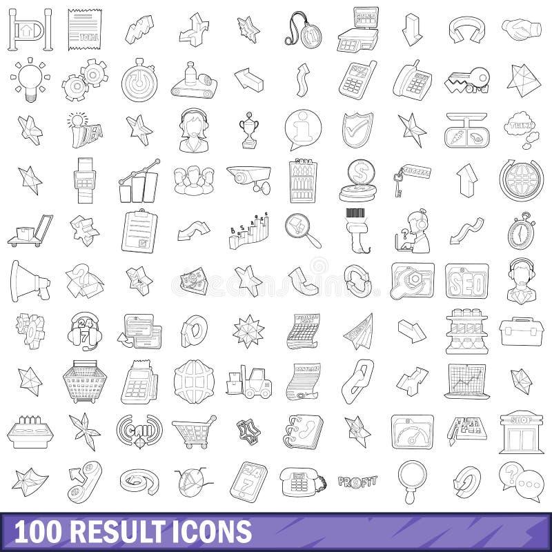 100 icônes de résultat réglées, style d'ensemble illustration stock