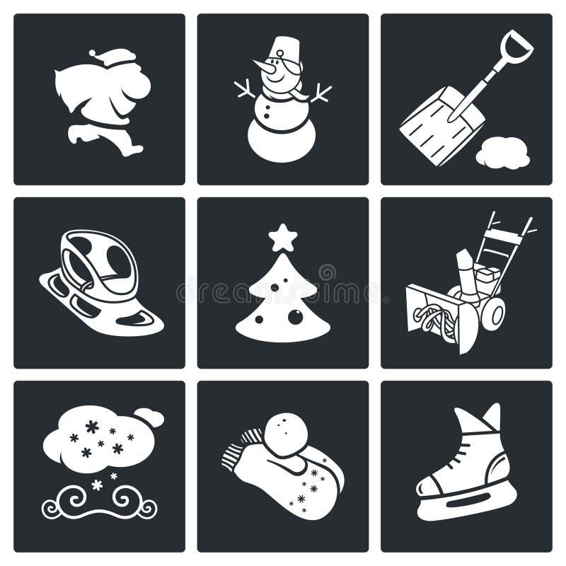 Icônes de réveillon de la Saint Sylvestre et de vecteur de Noël réglées illustration de vecteur