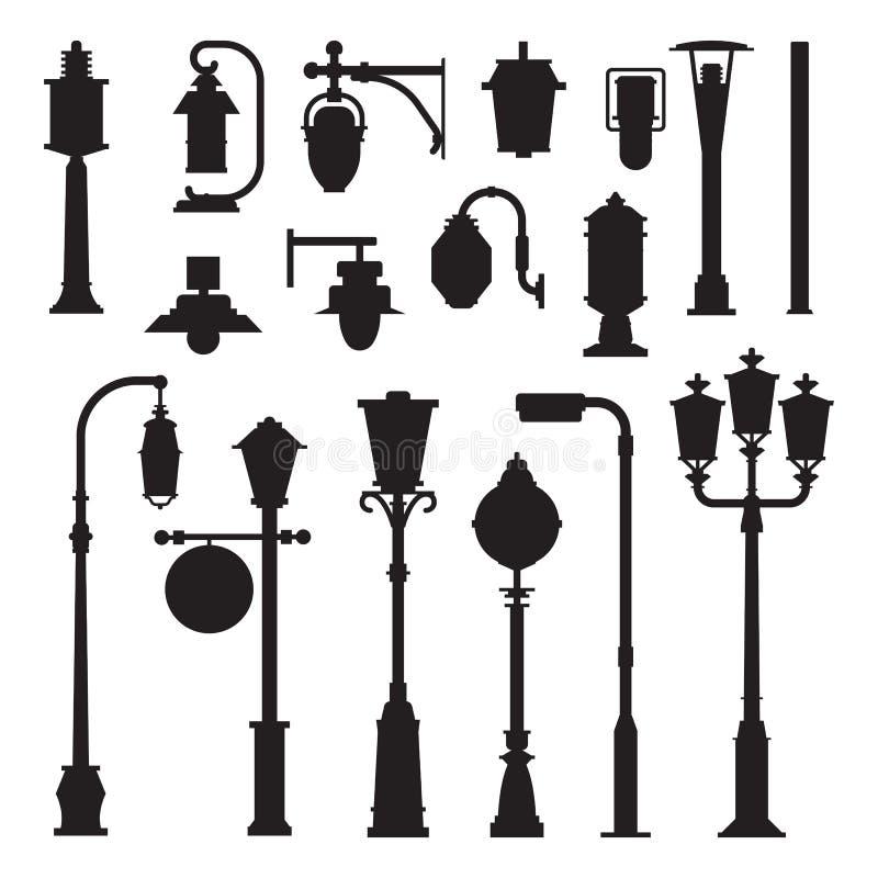 Icônes de réverbères et de courriers de lampe illustration libre de droits