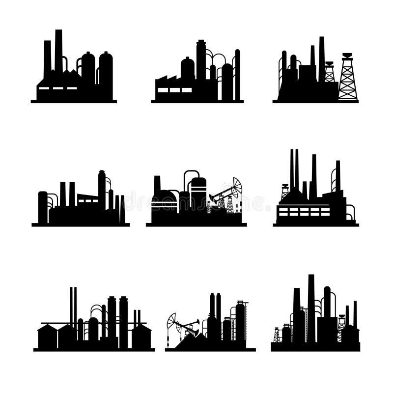 Icônes de raffinerie de pétrole et d'installation de transformation d'huile illustration libre de droits