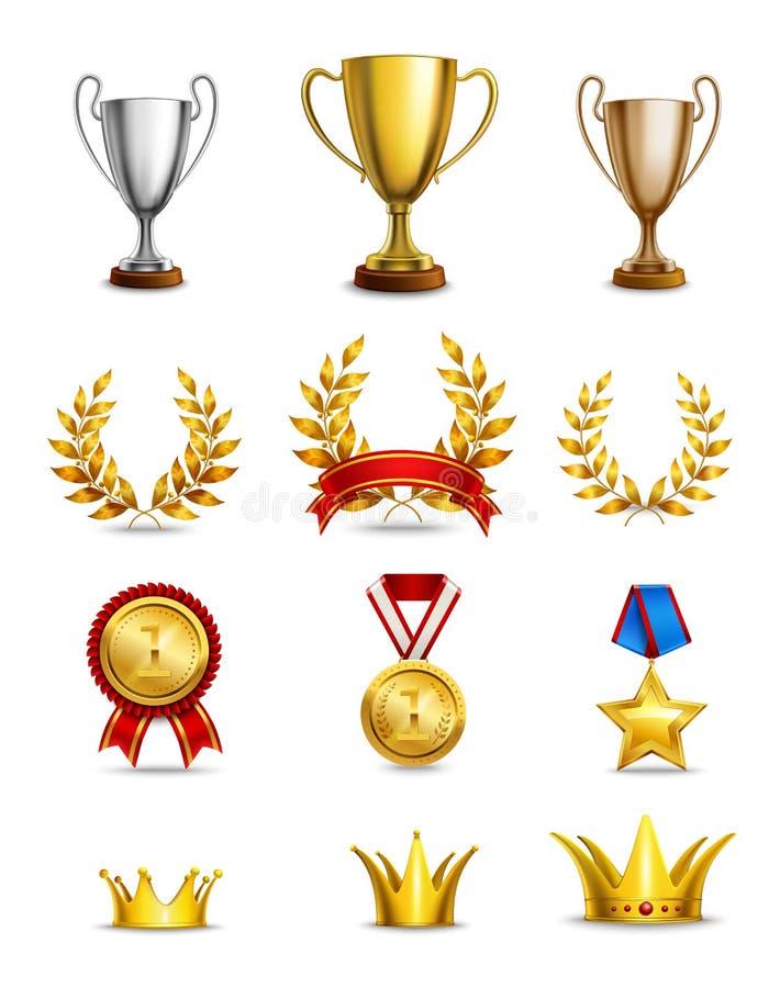 Icônes de rang réglées illustration stock
