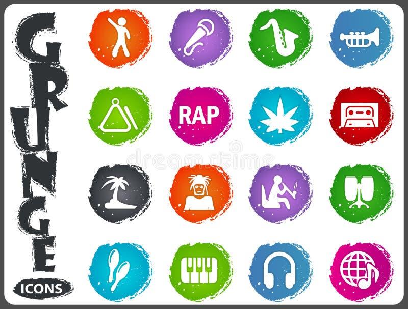Icônes de rap réglées illustration stock