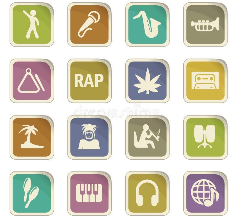 Icônes de rap réglées illustration de vecteur