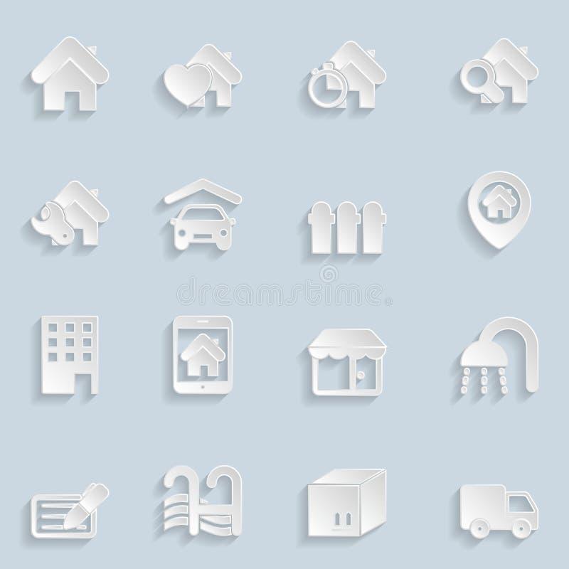 Icônes de Real Estate de papier illustration libre de droits
