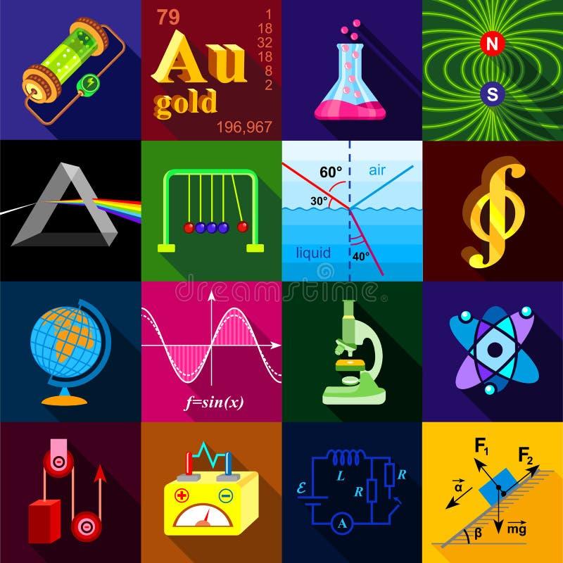 Icônes de recherches de la Science réglées, style plat illustration libre de droits