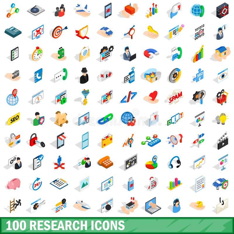100 icônes de recherches réglées, style 3d isométrique illustration libre de droits