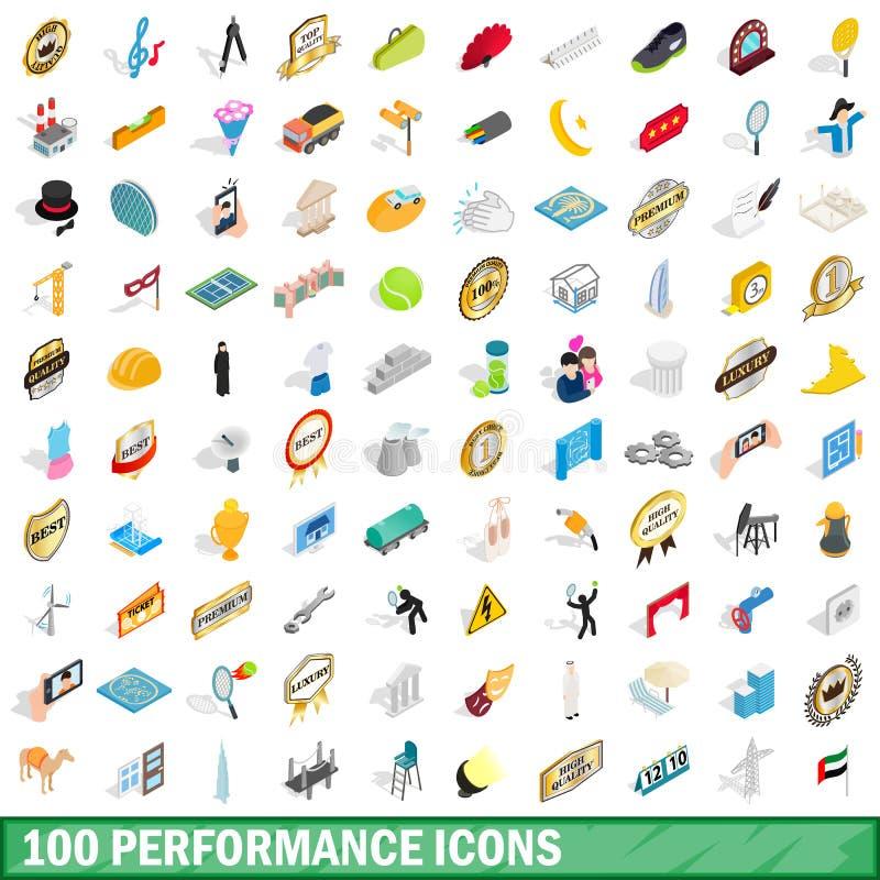 100 icônes de représentation réglées, style 3d isométrique illustration libre de droits