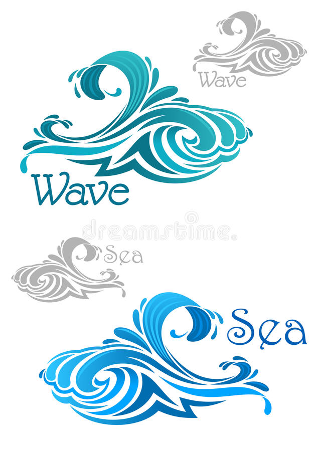 Icônes de ressacs de bleu et de sarcelle d'hiver illustration libre de droits