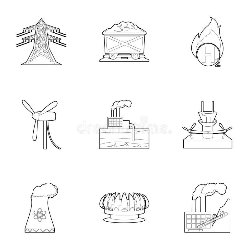 Icônes de ressource du monde réglées, style d'ensemble illustration de vecteur