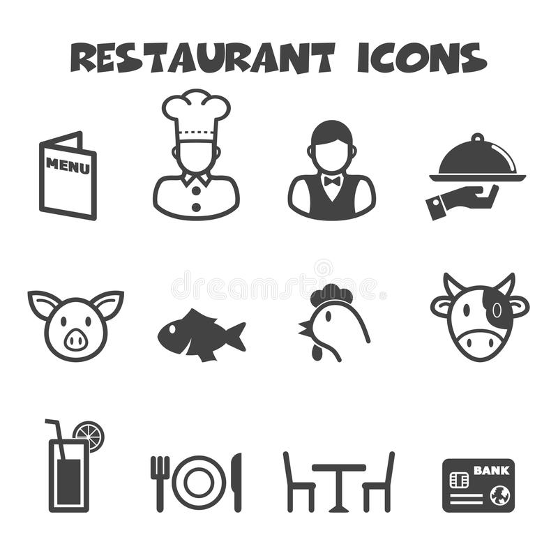 Icônes de restaurant illustration stock