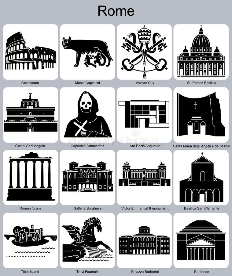 Icônes de Rome illustration stock