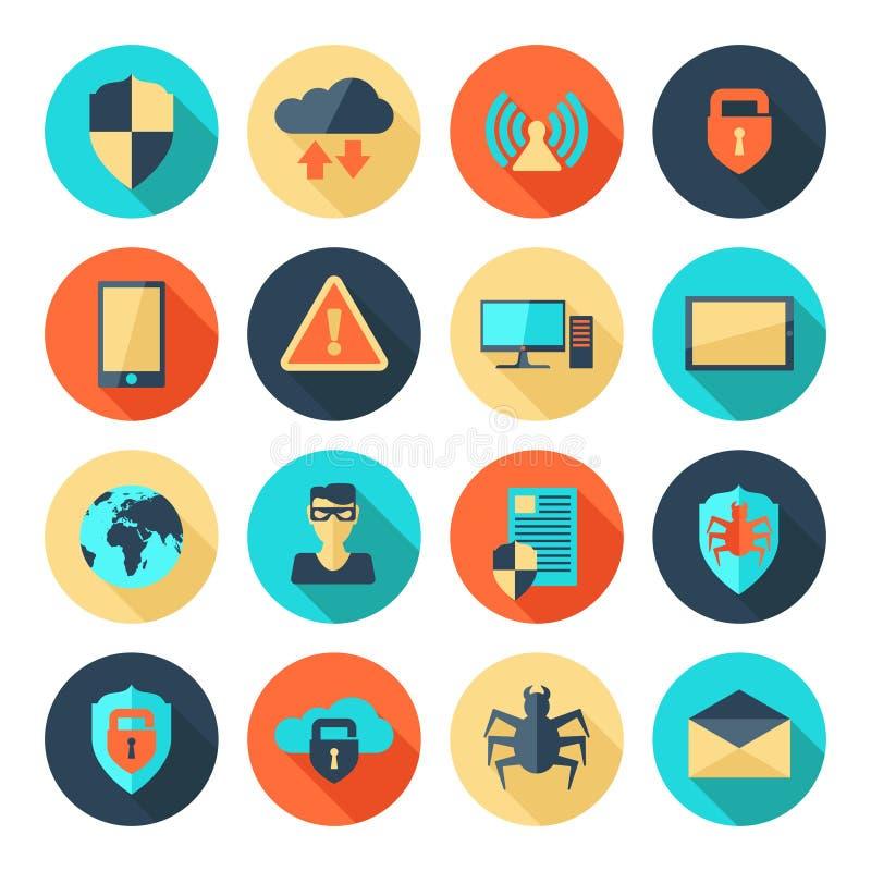 Icônes de sécurité de réseau illustration stock