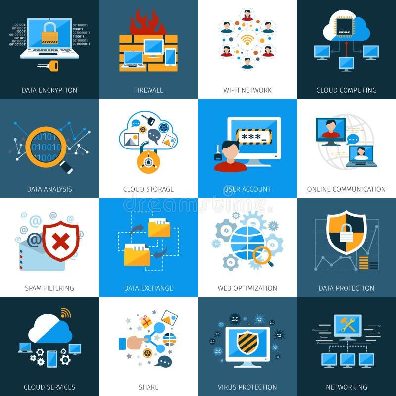 Icônes de sécurité de réseau réglées illustration libre de droits