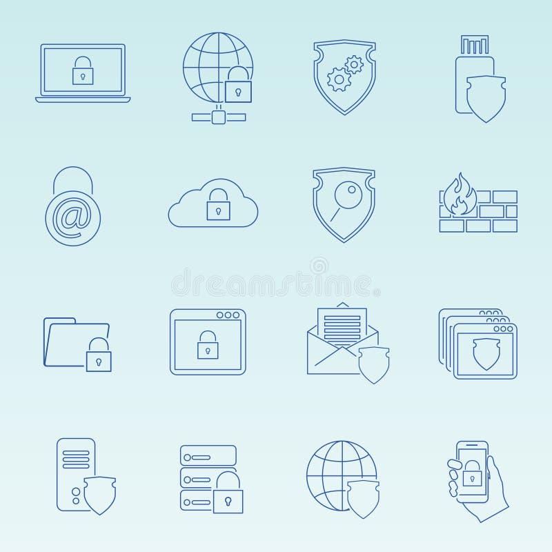 Icônes de sécurité de technologie de l'information réglées illustration libre de droits
