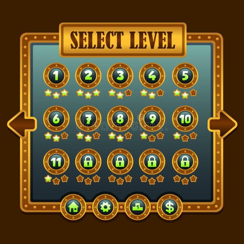 Icônes de sélection de niveau de steampunk de jeu illustration stock