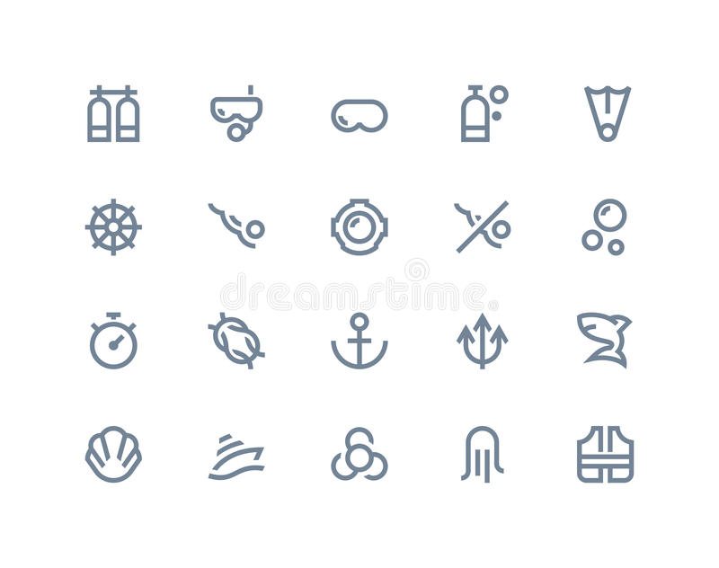 Icônes de scaphandre Ligne série illustration stock