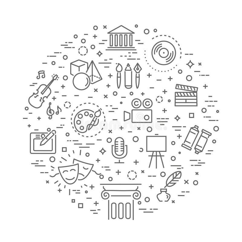 Icônes de schéma Musique, théâtre et symboles artistiques illustration libre de droits