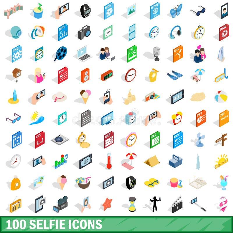 100 icônes de selfie réglées, style 3d isométrique illustration stock