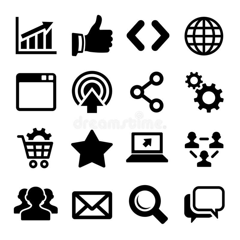 Icônes de SEO réglées illustration stock