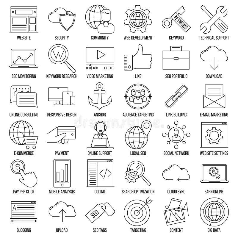 Icônes de SEO Signes d'Internet et de développement illustration de vecteur