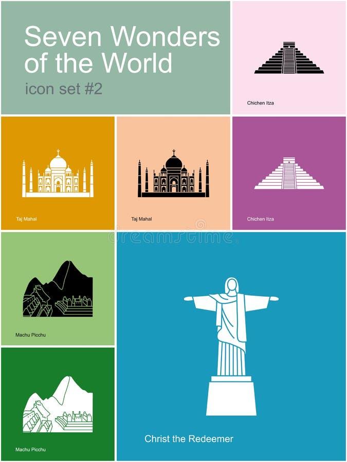 Icônes de sept merveilles du monde illustration libre de droits