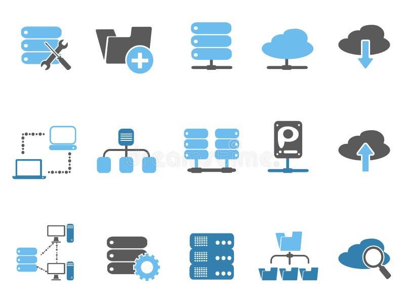 Icônes de serveur web réglées, série bleue illustration stock