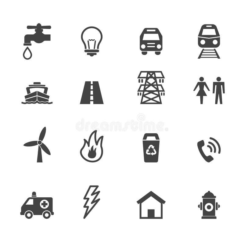 Icônes de service collectif  illustration stock