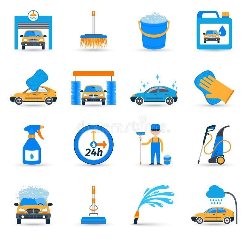 Icônes de service de station de lavage réglées illustration stock