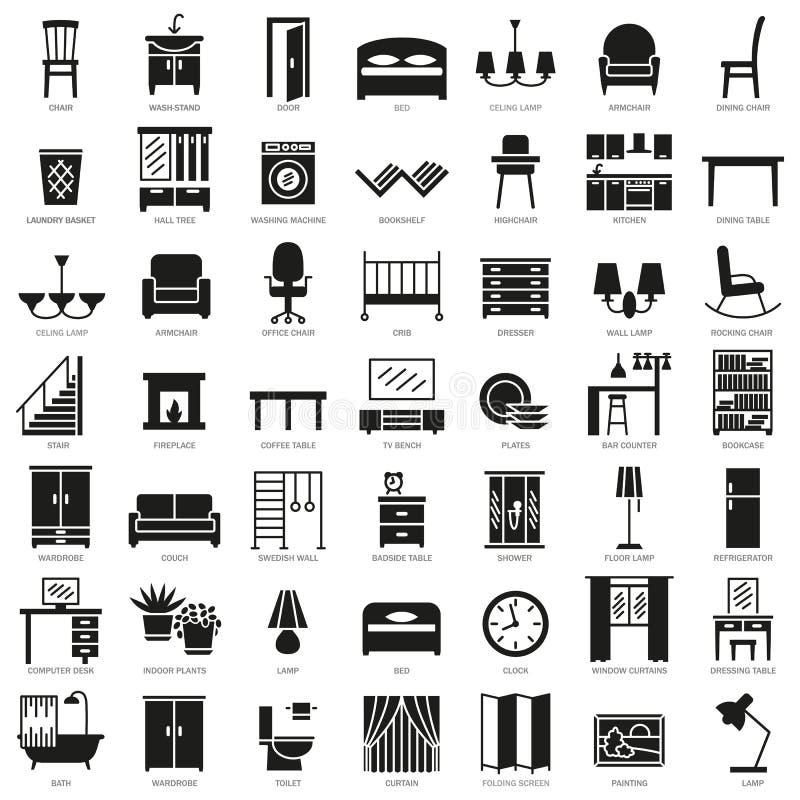 Icônes de silhouette de meubles de pièce réglées illustration stock