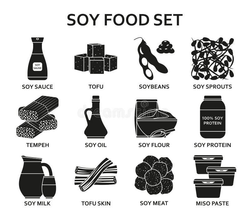 Icônes de silhouette de nourriture de soja réglées illustration de vecteur