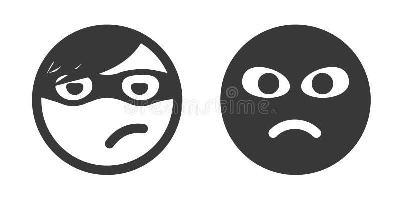 Icônes de smiley de voleur illustration stock