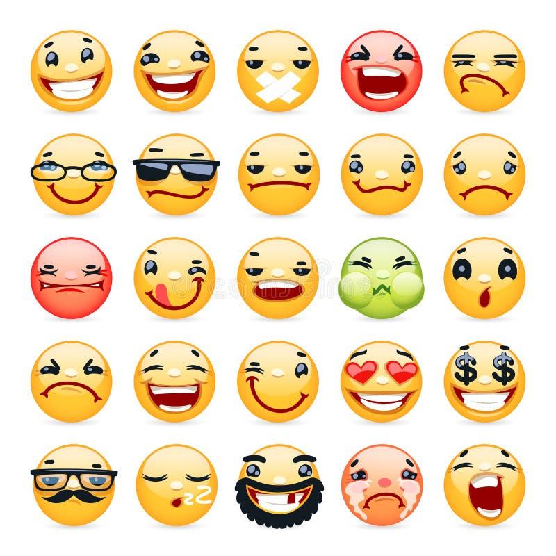 Icônes de sourire d'expression du visage de bande dessinée réglées illustration libre de droits