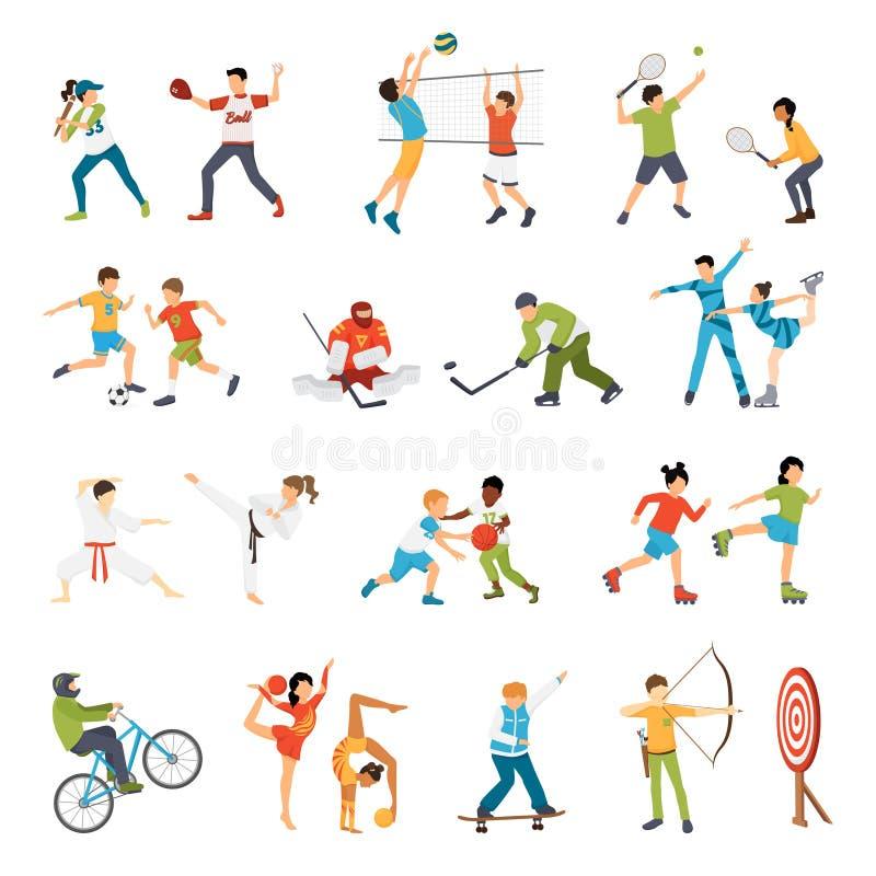 Icônes de sport d'enfants réglées illustration de vecteur