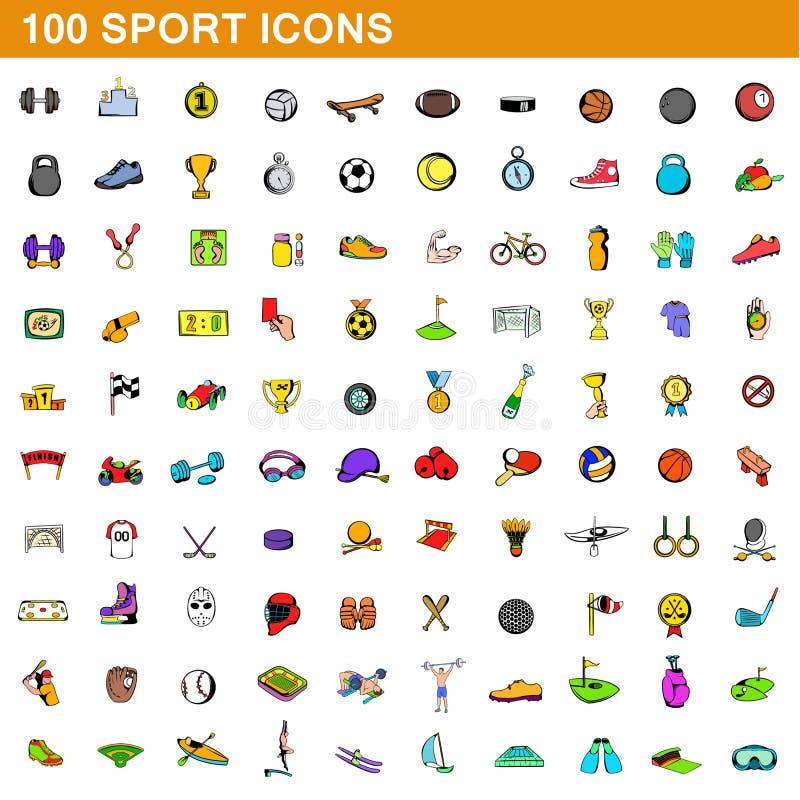 100 icônes de sport réglées, style de bande dessinée illustration libre de droits