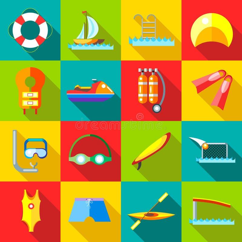 Icônes de sports aquatiques réglées dans le style plat illustration stock