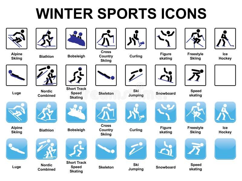 Icônes de sports d'hiver illustration stock