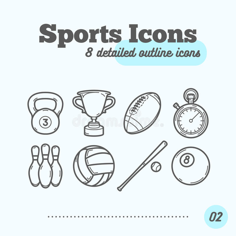 Icônes de sports réglées (Kettlebell, trophée, football, minuterie, quilles, volleyball, base-ball, boule de billard) illustration libre de droits