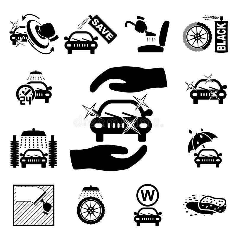 Icônes de station de lavage réglées illustration de vecteur