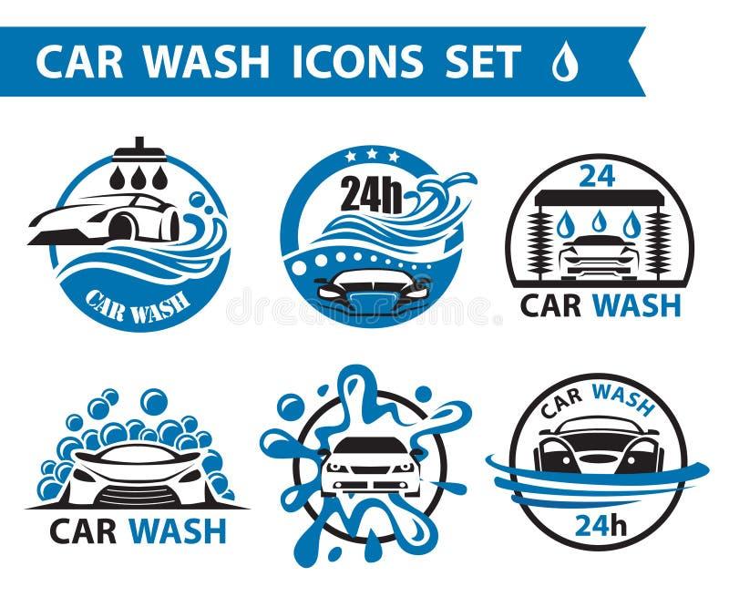 Icônes de station de lavage réglées illustration stock