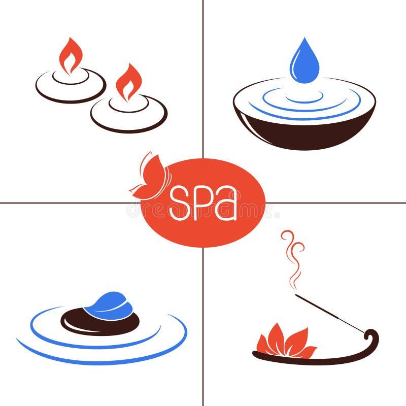 Icônes de STATION THERMALE et d'aromatherapy illustration de vecteur