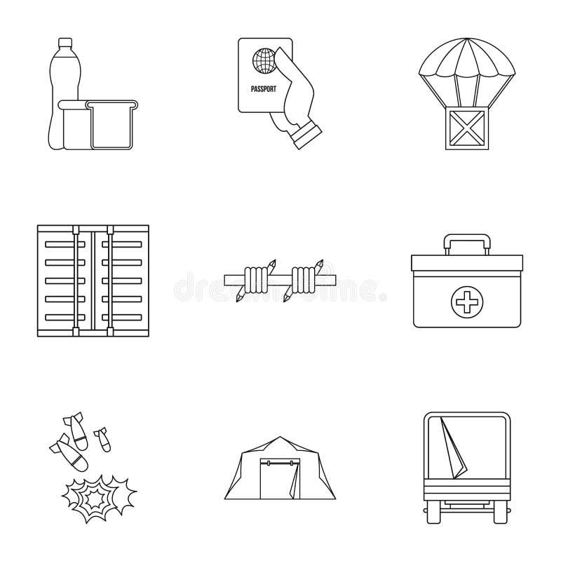 Icônes de statut de réfugié réglées, style d'ensemble illustration stock