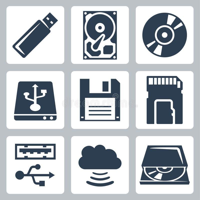 Icônes de stockage de données de vecteur réglées illustration libre de droits