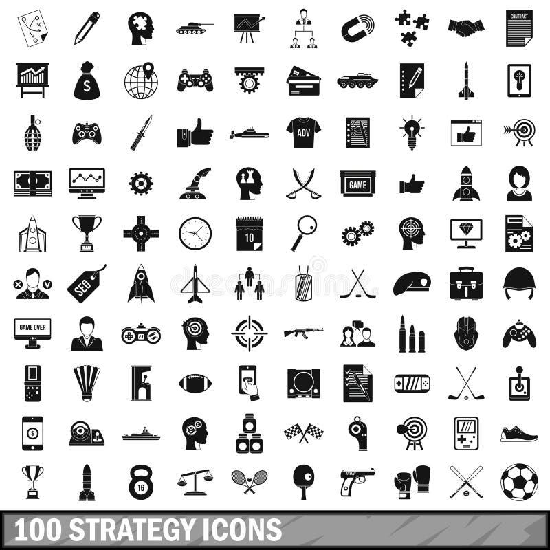 100 icônes de stratégie réglées, style simple illustration stock